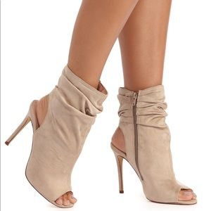 Shoes - Taupe Faux Suede Peep Toe Bootie